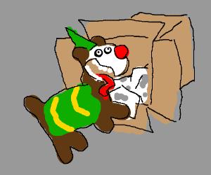 a cute clown dog made a box house