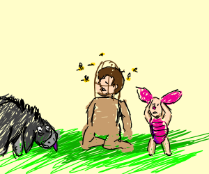 Eeyore and Piglet kill a kid with bees
