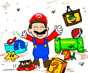 Mario is happy with... a mess?