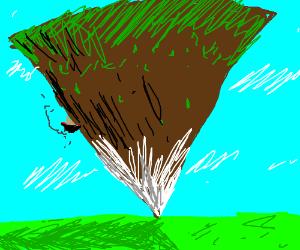 Mountain standing on its peak