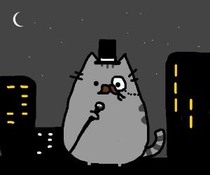 Sad city cat looking rather dapper