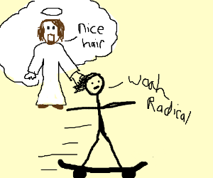 Jesus watches over a skater too closely