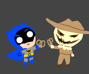SO ADORBS! Bats and Scarecrow exchange prezies