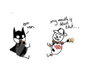 Batman and Scarecrow enjoy pretzels together