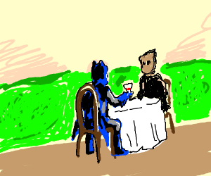 Batman has a nice lunch with scarecrow