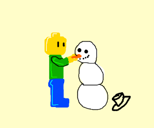 Lego man and buff square guy build a snowman