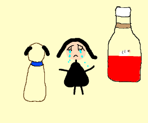 Dog and mother cry while a baby in ketchup