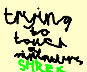 trying to touch a miniature shrek