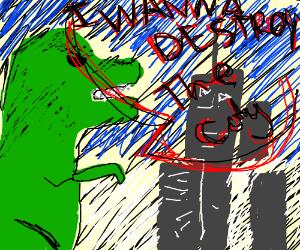 Godzilla wants to destroy a city.