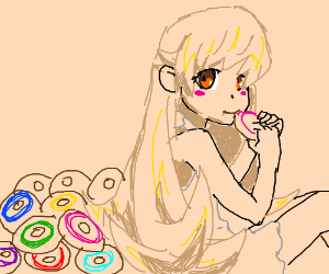 Anime girl eating donuts of many colors
