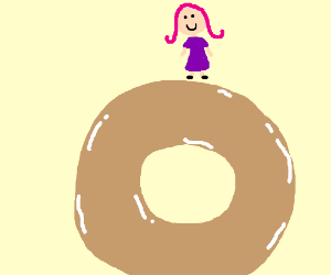 Girl with Pink hair happy over glazed donut