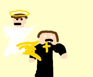 Angel urinates on preist