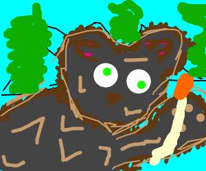 Smokey Bear holds a match