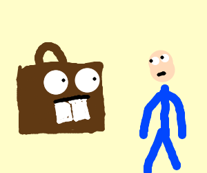 Staring competition: Man vs. Toothed Suitcase