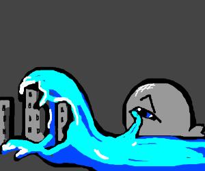 Whale cries-- devours city.