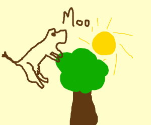 Brown cow jumps over a tree with a sun