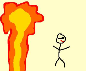 Walkin' away from an explosion.