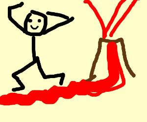Man dances beside gush of lava