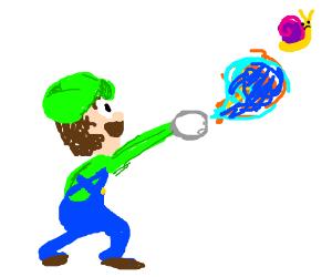 Luigi throws blue fire at snail