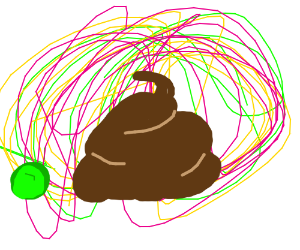 Poop is shrouded by technicolor thread and pea