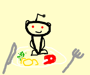 le Reddit Alien le standing on a dinner plate