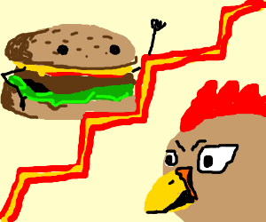 Burger vs an angry Chicken