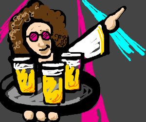 Disco guy serves beers.