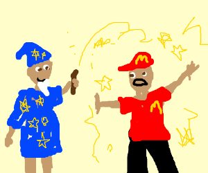 Wizard casting a spell on a McDonald employee