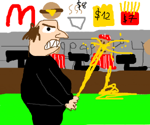 man paying at McDonalds