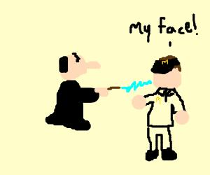 Gargamel defaces Mcdonald's employee