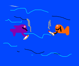 two fishes on the sea smoaking