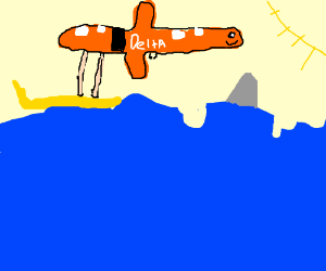 orange airplane attempting to surf