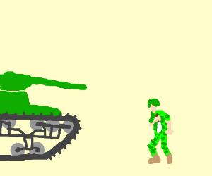 Knife is not allowed gun againtst tanks ...