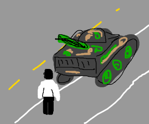 Soldier stands bravely in front of a tank