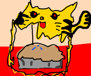 Blueberry pie posesed by the spirit of pikachu