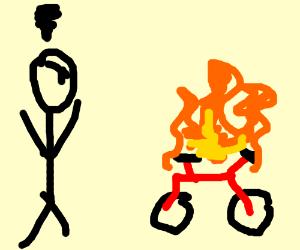 man pissed off at bike which setsitselfonfire