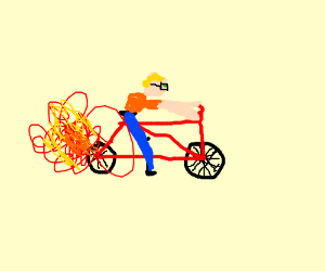 kid with glasses riding a red bike with flames