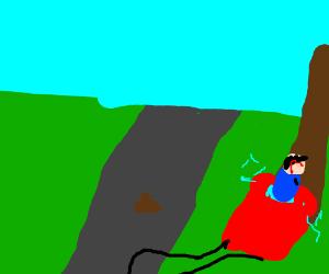 Poo stops a car.