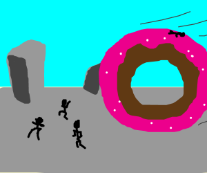 Giant doughnut chases the townspeople!