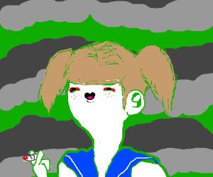 Schoolgirl smokes weed