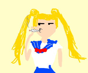 Sailor Moon smokes a jay