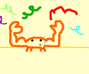 Smoking Muscle Crab Plays With Party Streamers