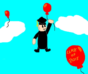 Graduating with balloons