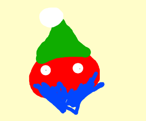Blue bearded tomato in a hat