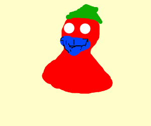 red blob with green hat and blue beard