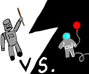 Robot with a stick VS astronaut with a balloon