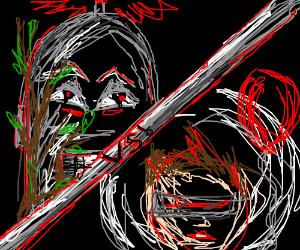 Robot w/ stick vs futuristic man w/ red baloon