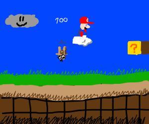 Mario bops Lakitu and steals his cloud!