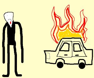 SlenderMan is sad about a burning car