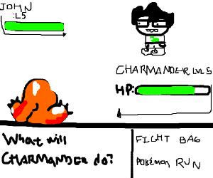 John from Homestuck vs. Charmander on Game Boy